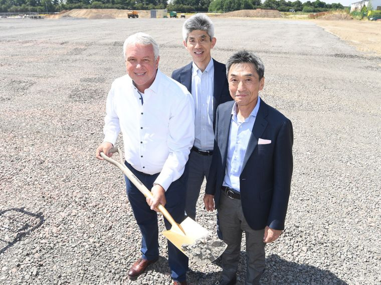 Ground breaking for the new HQ, left to right, Peter Capp, CEO Sodick Europe, Hirofumi Maejima, Executive Managing Director Sodick Co. Ltd, Keisuke Takagi, Vice President and Representative Director Sodick Co., Ltd.